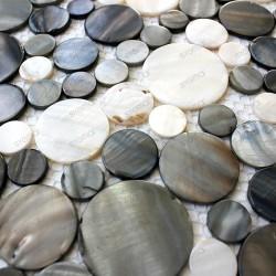 Mosaico de azulejo nácar gris REDONDO 1m2