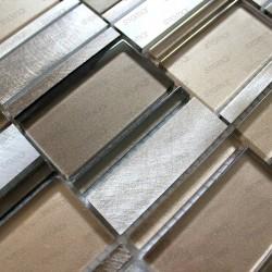 mosaico aluminio frente cocina ducha baño 1m Albi Marron