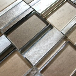 Mosaique d'aluminium et verre pour mur salle de bain et cuisine 1m-cetimarron