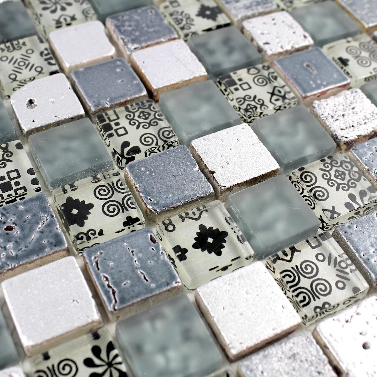 Mosaique de verre et pierre credence cuisine et douche milla 200m20