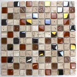 Mosaique mur salle de bain sol douche en verre et pierre Malika