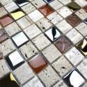 piedra de pared y el cristal cuarto de baño y baldosas de acero etno