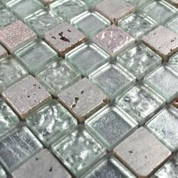 mosaique verre et pierre douche de credence Metallic Silver 1m2