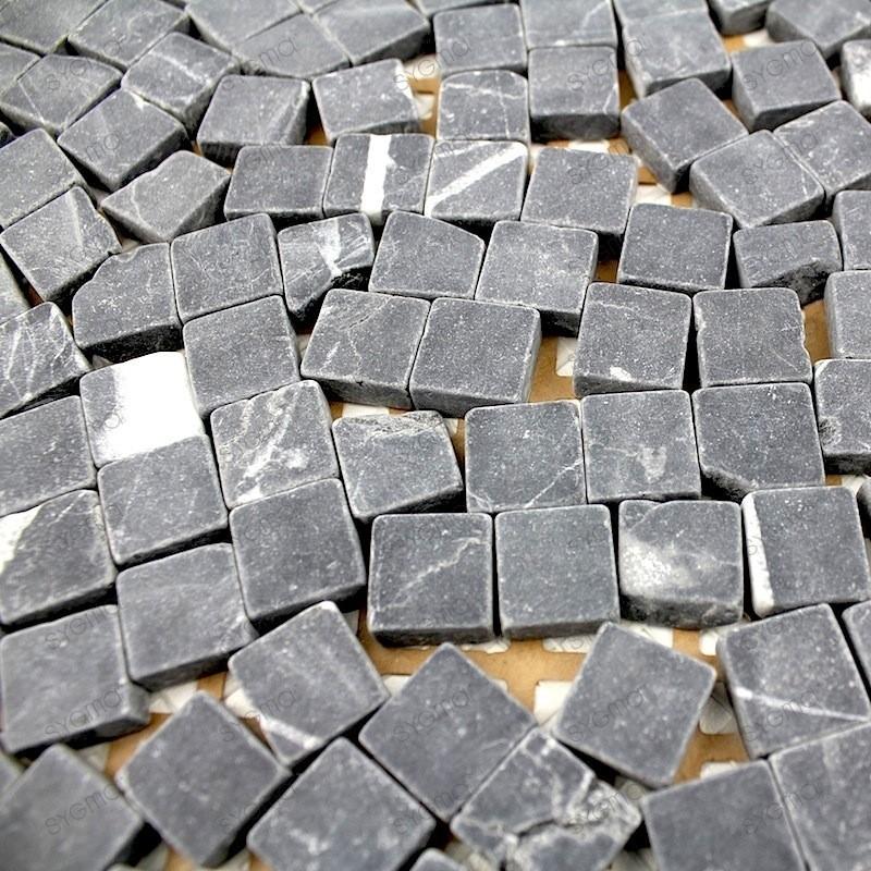 Mosaique Pierre Douche Italienne Salle De Bain Lulli Noir 1M2