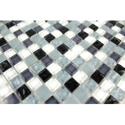 Tile mosaic glass bathroom shower OPUS black 1sqm