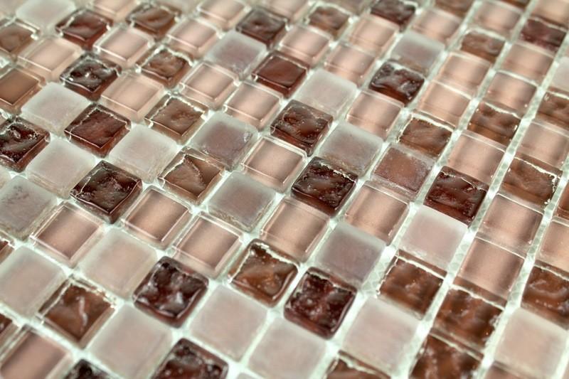 Mosaique verre douche italienne salle de bain Opus Marron ...