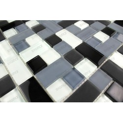 Mosaic tiles glass plate mosaic shower Cubic noir 1sqm