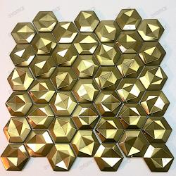 mosaico ducha acero cocina baño Kami Gold