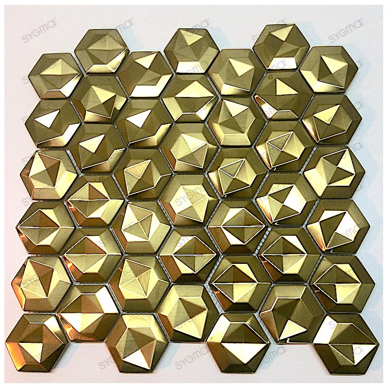 stainless steel backsplash kitchen mosaic shower Kami Gold