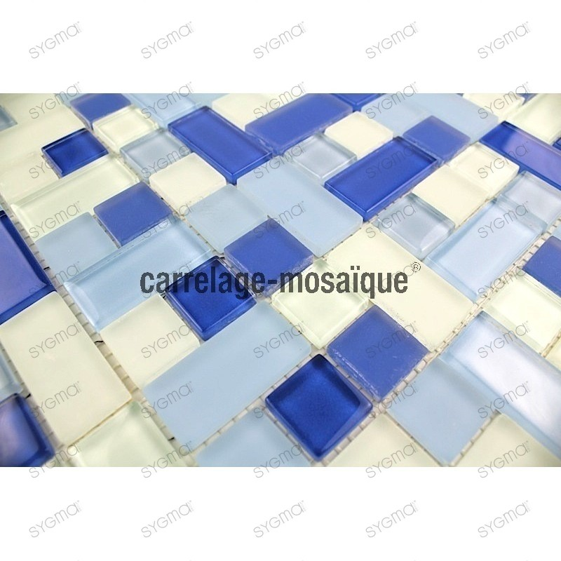 Mosaic tiles glass Cubic Bleu 1sqm
