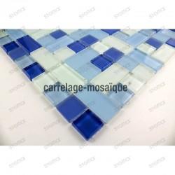 Mosaique verre douche salle de bain cubic bleu 1m2