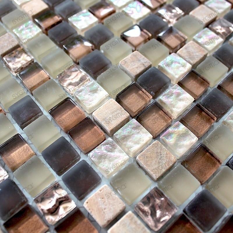 Glass and stone mosaic shower bathroom splashback ottawa 1sqm