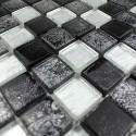 Mosaique verre douche salle de bain Lux noir 1m2
