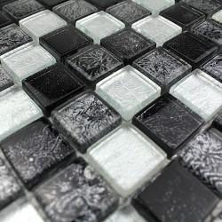 Mosaique Verre Douche Salle De Bain Lux Noir 1m2 Carrelage Mosaique