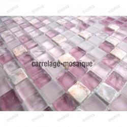 Mosaique verre et pierre pour salle de bain et douche 1m Rossi