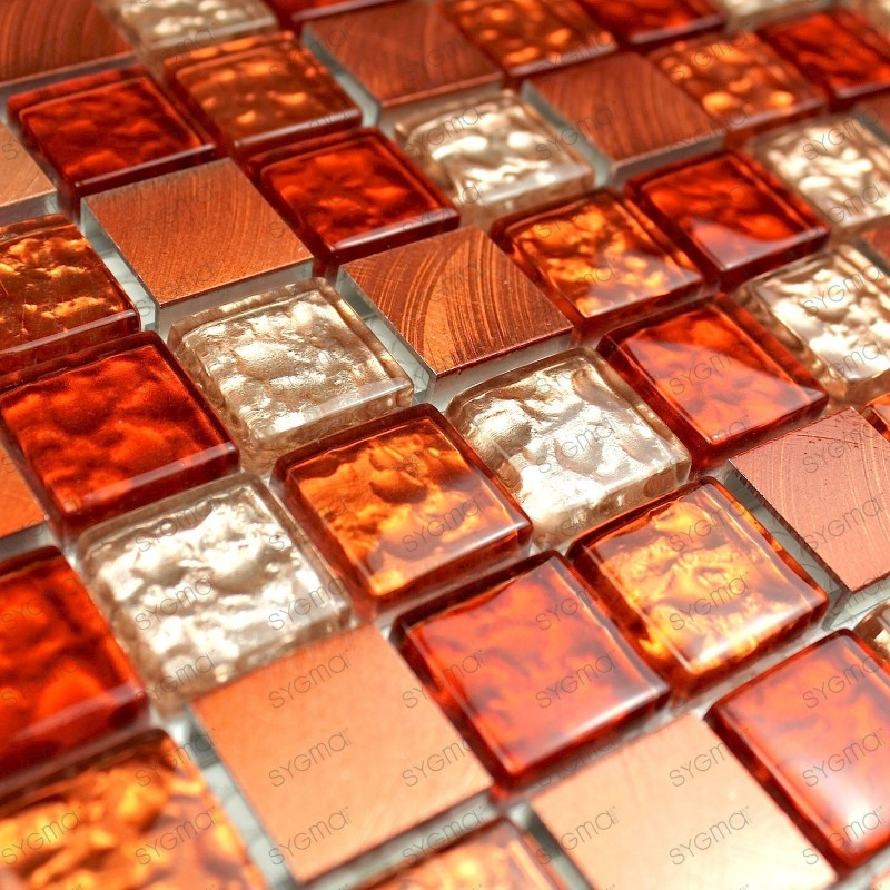 Mosaico de aluminio para cocina ducha nomade orange 1m2
