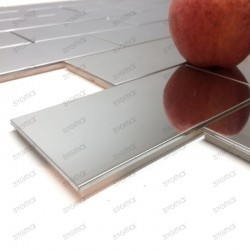 Mosaique inox credence cuisine brick 150 miroir