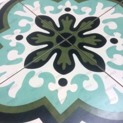 Carreaux ciment imitation douche salon patchwork jungle