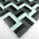 Mosaique verre douche italienne hammam city noir 1m2