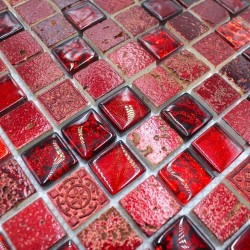 Glass and stone mosaic shower bathroom splashback metallic rouge 1sqm