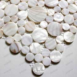 Mosaique nacre douche salle de bain redondo blanc 1m2