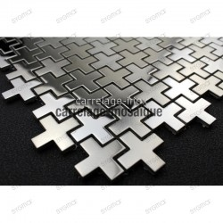sample of stainless stell mosaic for splashback shower or bathroom Cross