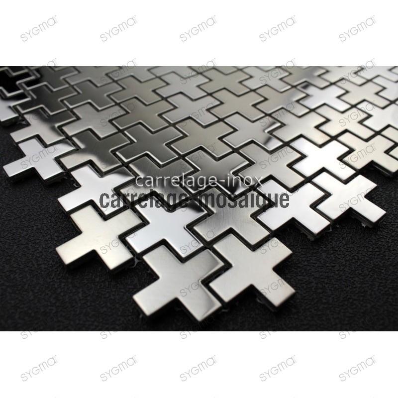 Mosaico de acero inxidable para cocina y ducha Muestra cross