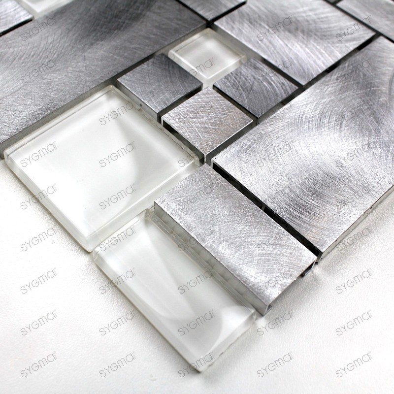 Aluminium mosaic sample for splashback worktop Aspen
