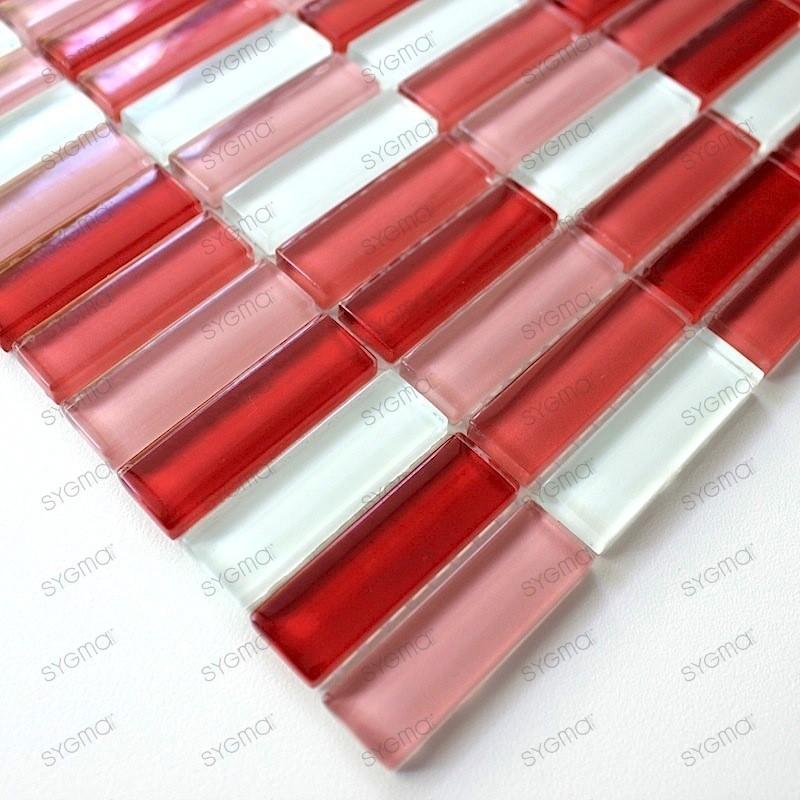 mosaique de verre salle de bain douche rectangular rouge -  carrelage-mosaique