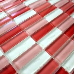mosaique de verre salle de bain douche rectangular rouge