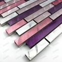 Carrelage aluminium mosaique crédence cuisine echantillon blend violet