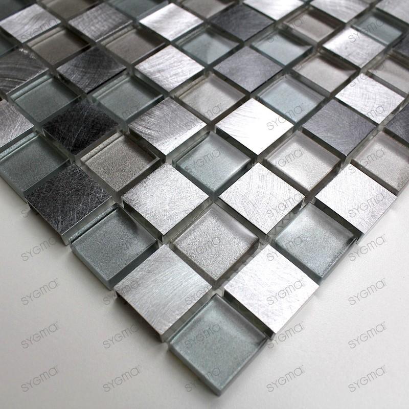 Aluminium mosaic sample for splashback worktop kitchen Heho