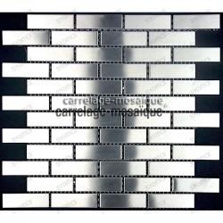 Carrelage inox mosaique credence cuisine Brick64 echantillon
