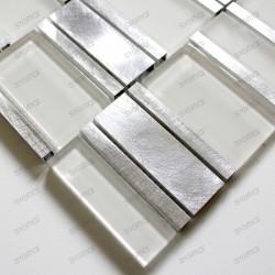 Carrelage aluminium mosaique cuisine ceti blanc echantillon
