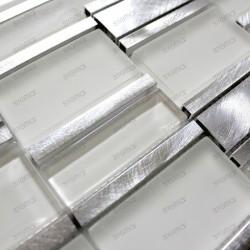Carrelage aluminium mosaique cuisine Albi Blanc echantillon
