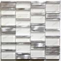 Aluminium mosaic sample for splashback worktop kitchen Albi Blanc