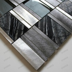 Aluminium mosaic sample for splashback worktop kitchen ceti gris