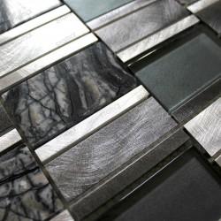 Carrelage aluminium mosaique cuisine echantillon Albi Gris