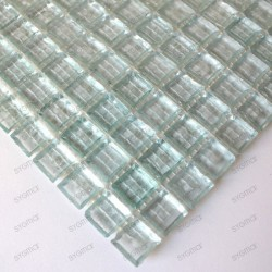 sample of glass mosaic for italian shower Crystal neutre