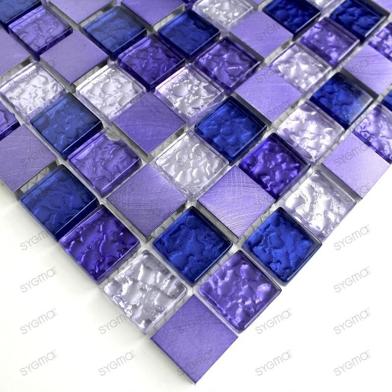 Mosaique aluminium credence cuisine Nomade violet echantillon