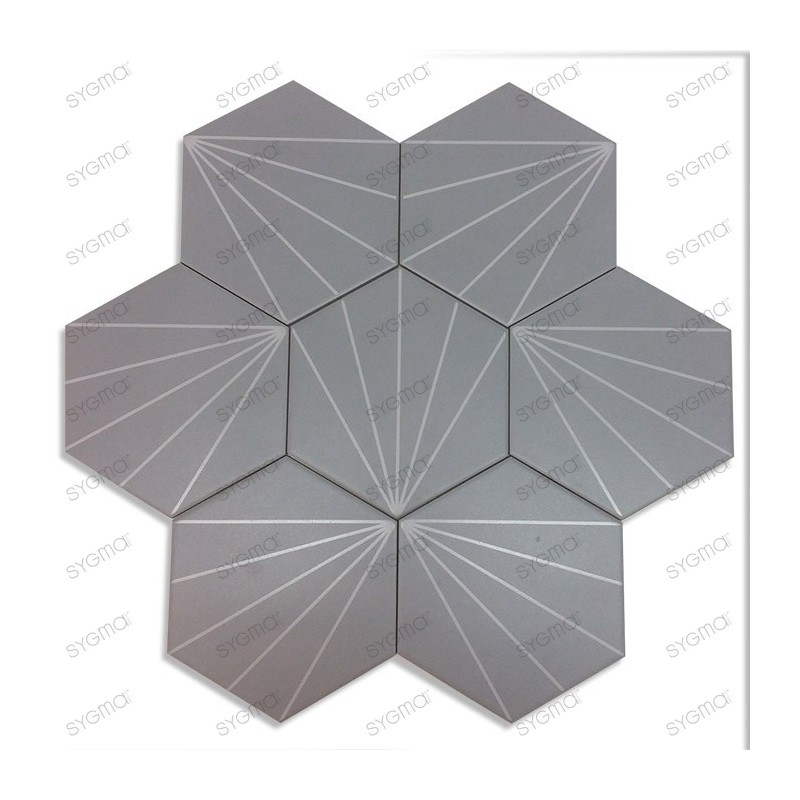 Cement tiles 1sqm patchwork Fyler Gris