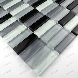 Glass mosaic for italian showerand bathroom rectangular noir sample