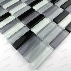 Glass mosaic for italian showerand bathroom rectangular noir sample