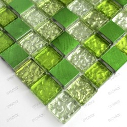 Aluminium mosaic sample for splashback worktop Nomade Vert