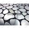 Mosaico de acero inoxidable suelo ducha italiana muestra galet inox