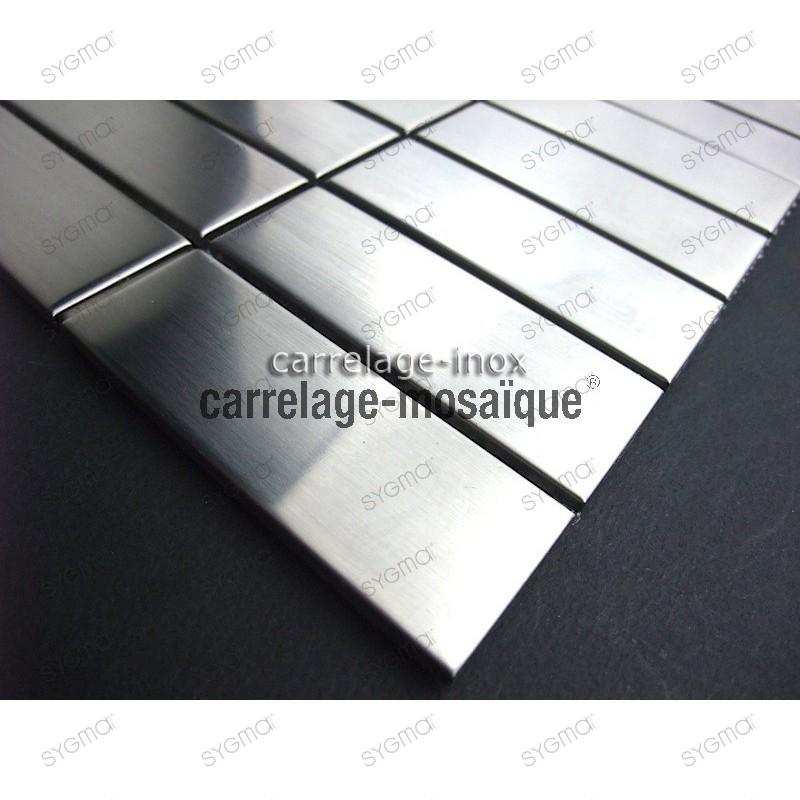 Mosaico de acero inoxidable para cocina y ducha rectangular 74