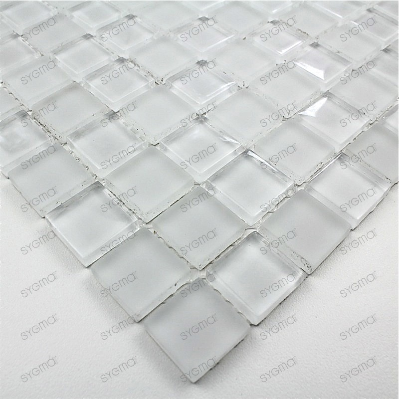 Glass mosaic shower bathrrom sample mat blanc 23 for Carrelage blanc mat 60x60