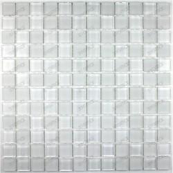 Mosaique verre douche italienne ech mat blanc 23