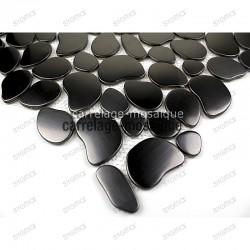 Mosaico de acero inoxidable para cocina y ducha muestra galet noir