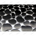 Stainless stell mosaic splashback kitchen sample Galet noir
